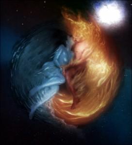 man women kissing in moon